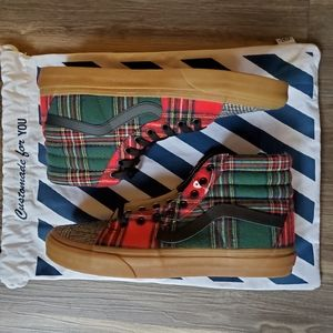BRAND NEW! VANS CUSTOMS PLAID GUM SOLE SK8-HI